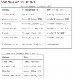 UK 2021 School Calendar