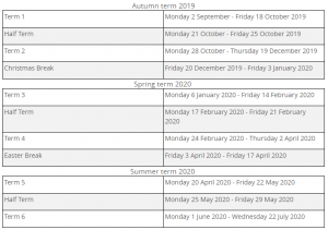 UK 2020 School Calendar