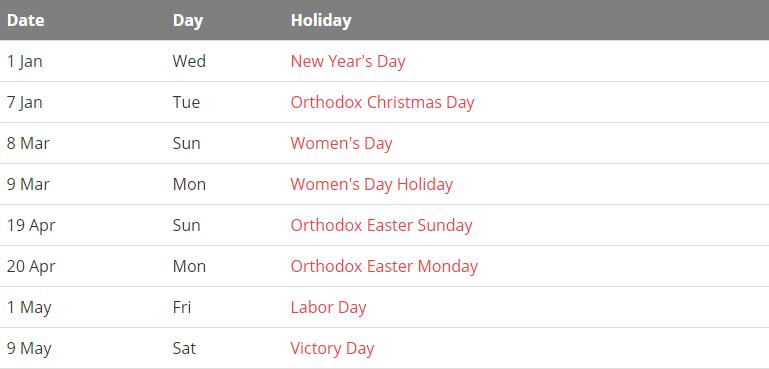 Ukraine 2020 Public Holiday Calendar