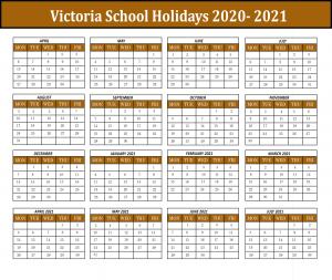Victorian School Calendar