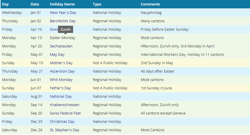 Zurich 2020 Holiday Calendar