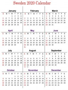 Blank Sweden Calendar 2020 Public Holidays