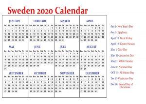 Printable Sweden Calendar 2020