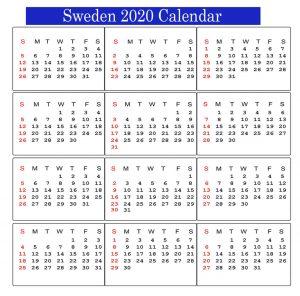Sweden 2020 Calendar
