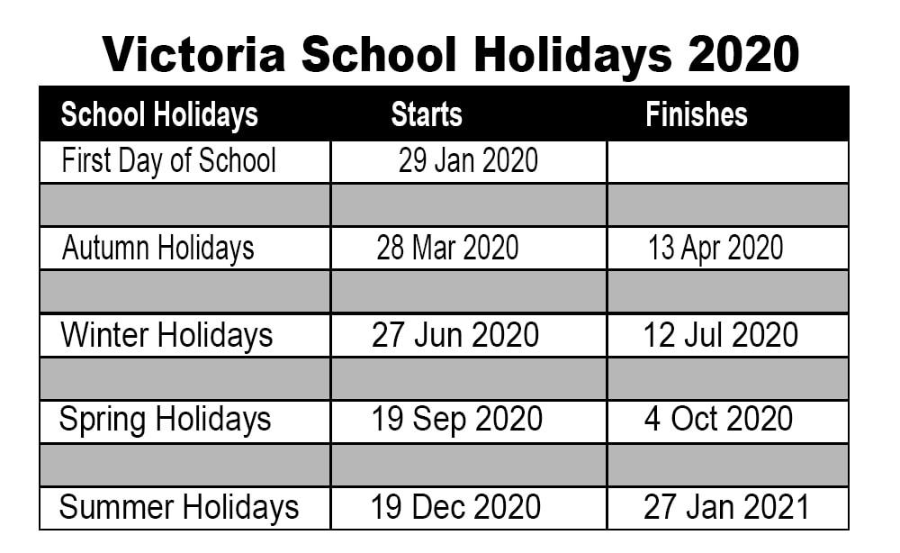 Victorian 2020 School Calendar