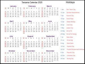 Printable 2020 Tanzania Calendar Public Holidays
