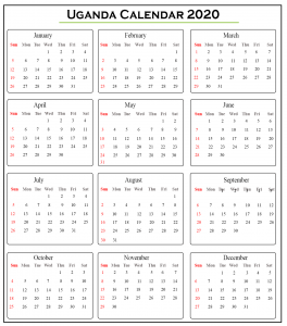 Printable Uganda 2020 Calendar