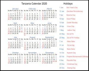 Public Holidays in Tanzania 2020