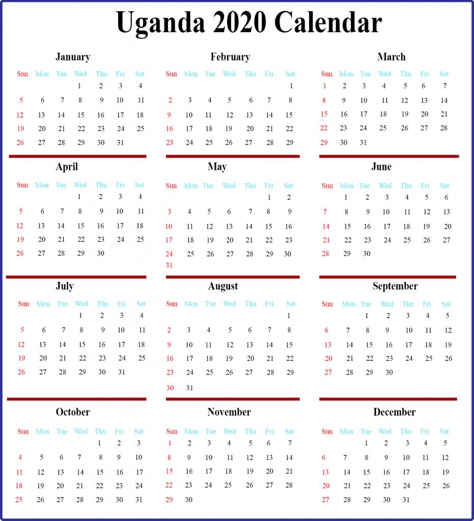 Uganda 2020 Calendar