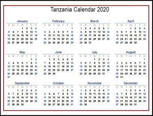 2020 Tanzania Calendar