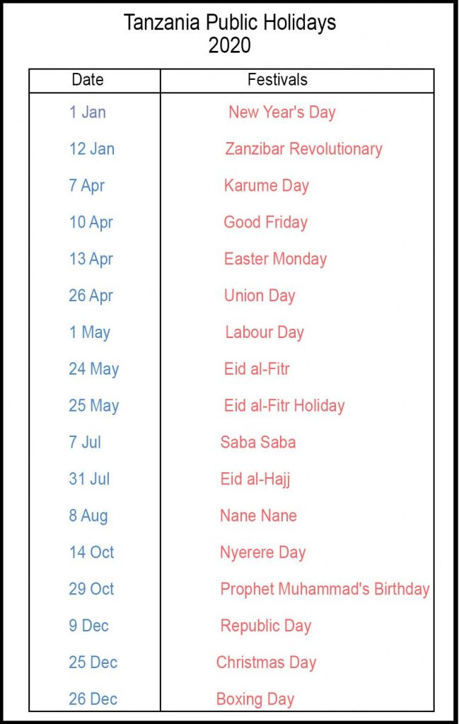 Printable Calendar 2020 with Tanzania Holidays