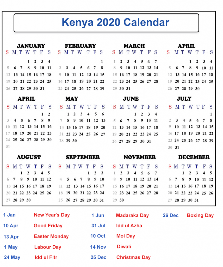 Blank Kenya Calendar 2020 Public Holidays