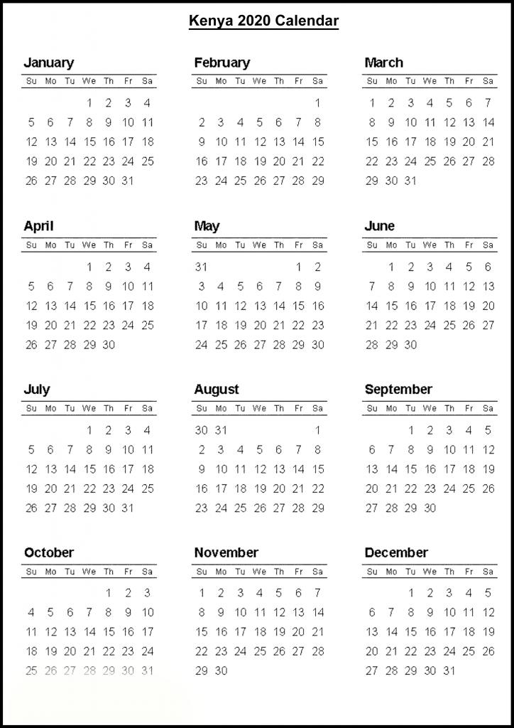 Kenya 2020 Calendar