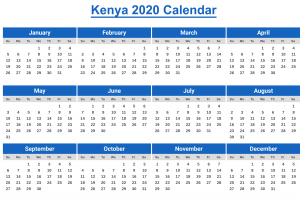 Printable Kenya Calendar 2020