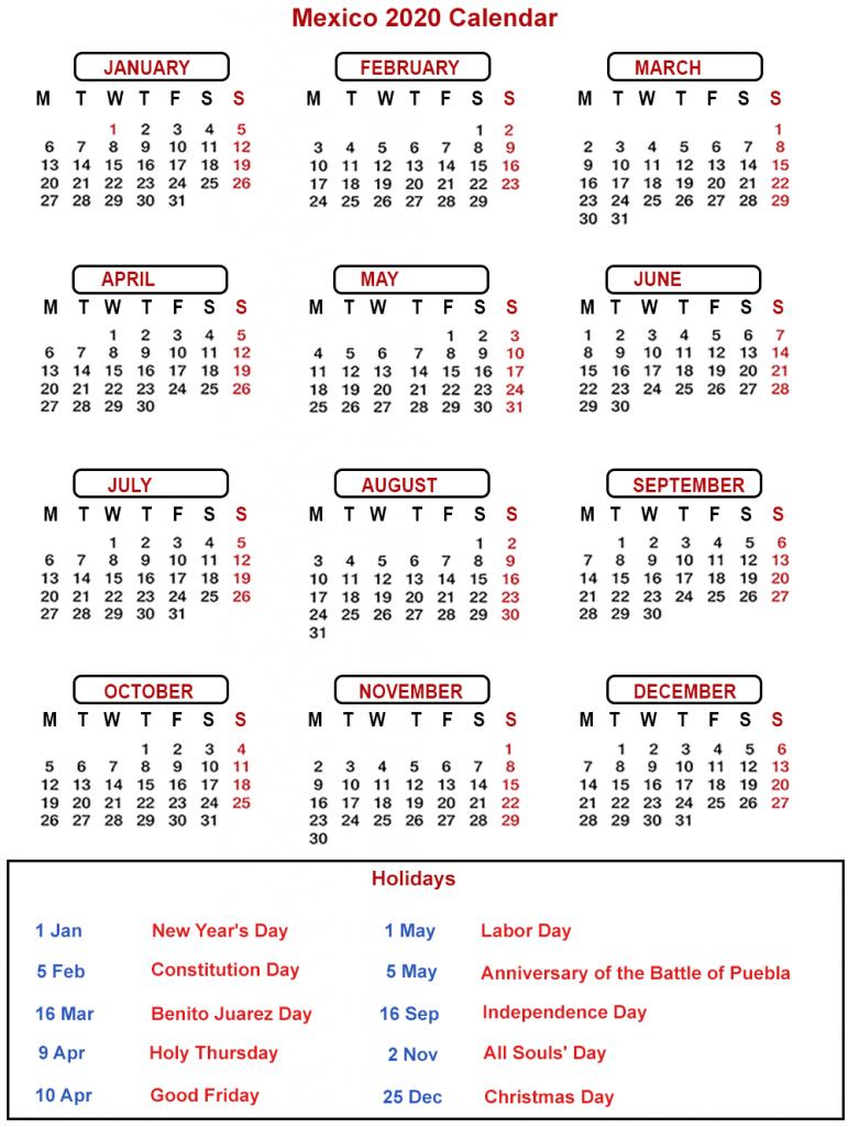 Mexico Calendar 2020 Public Holidays