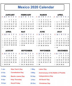 Printable Calendar 2020 with Mexico Holidays