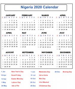 Nigeria Calendar 2020 Public Holidays