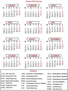 Printable Calendar 2020 with Thailand Holidays