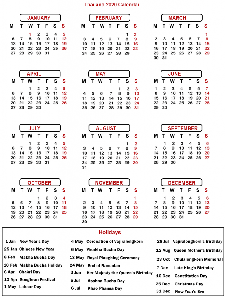 Printable Calendar 2020 with Thailand Holidays