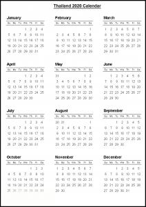Thailand Calendar 2020