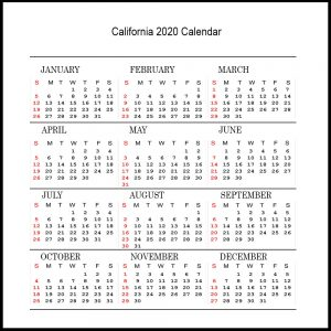 Printable California 2020 Calendar