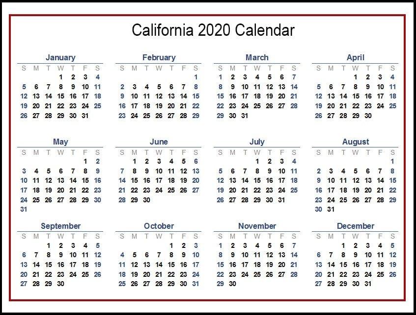2020 California Calendar