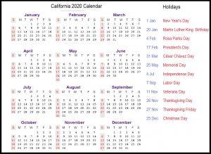 Public Holidays in California 2020