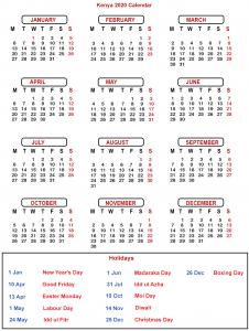 Public Holidays in Kenya 2020