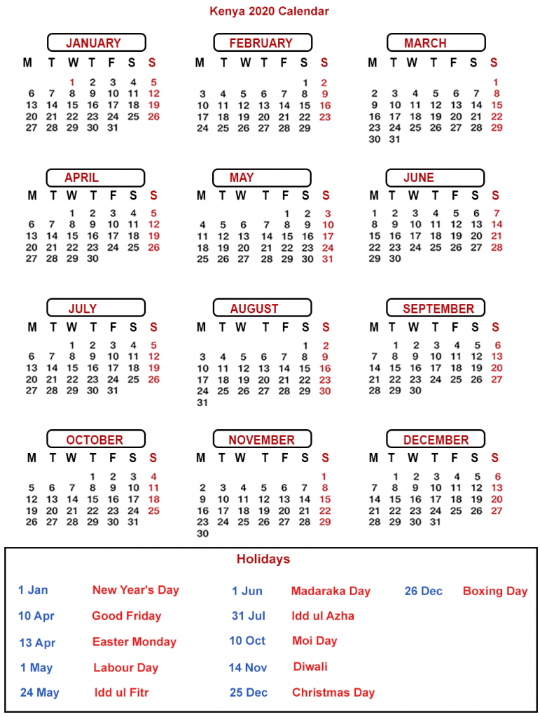 Public Holidays in Kenya 2020