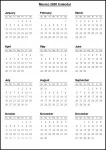 Mexico2020 Calendar