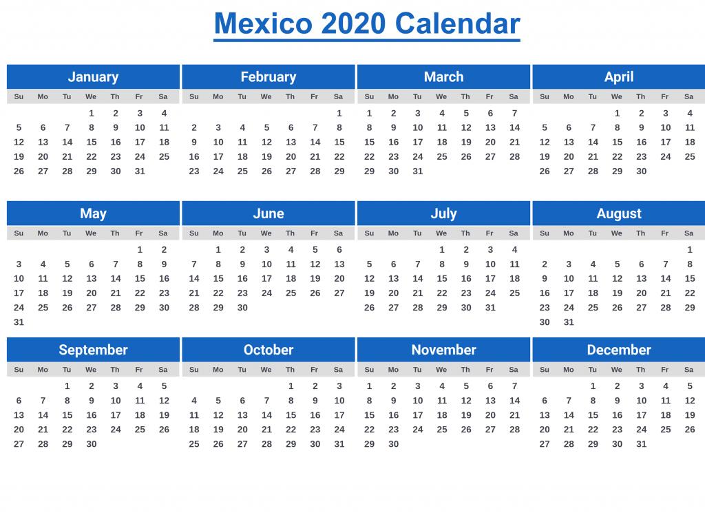 Printable MexicoCalendar 2020