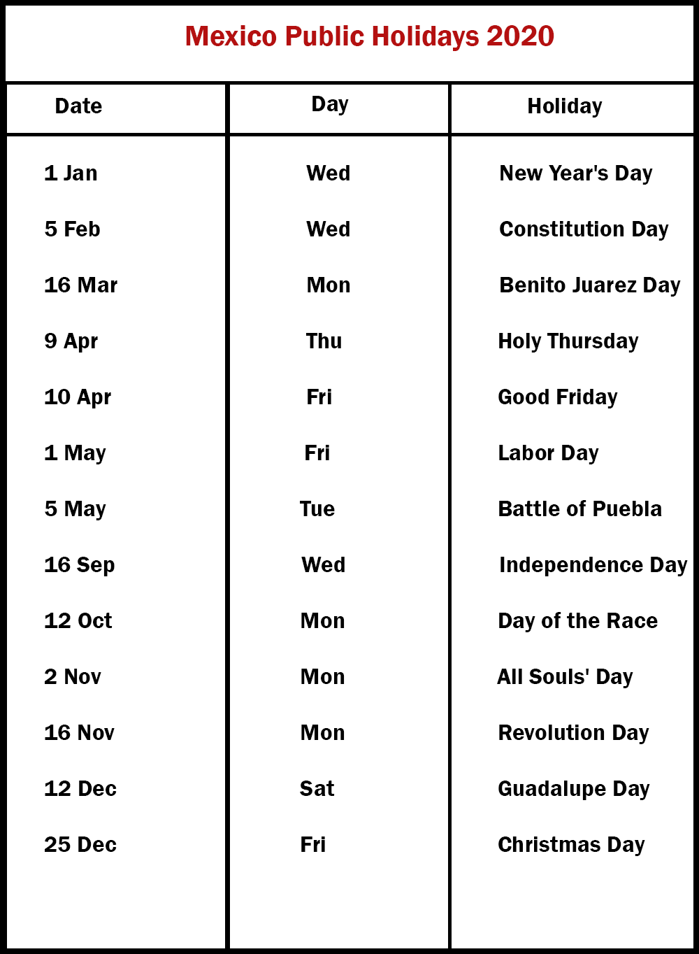 List Of Holidays 2020.Free 2020 Mexico Printable Calendar With Public Holidays