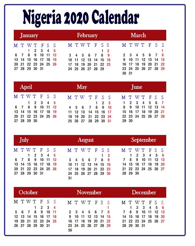 Printable Nigeria 2020 Calendar