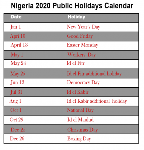 Public Holidays in Nigeria 2020