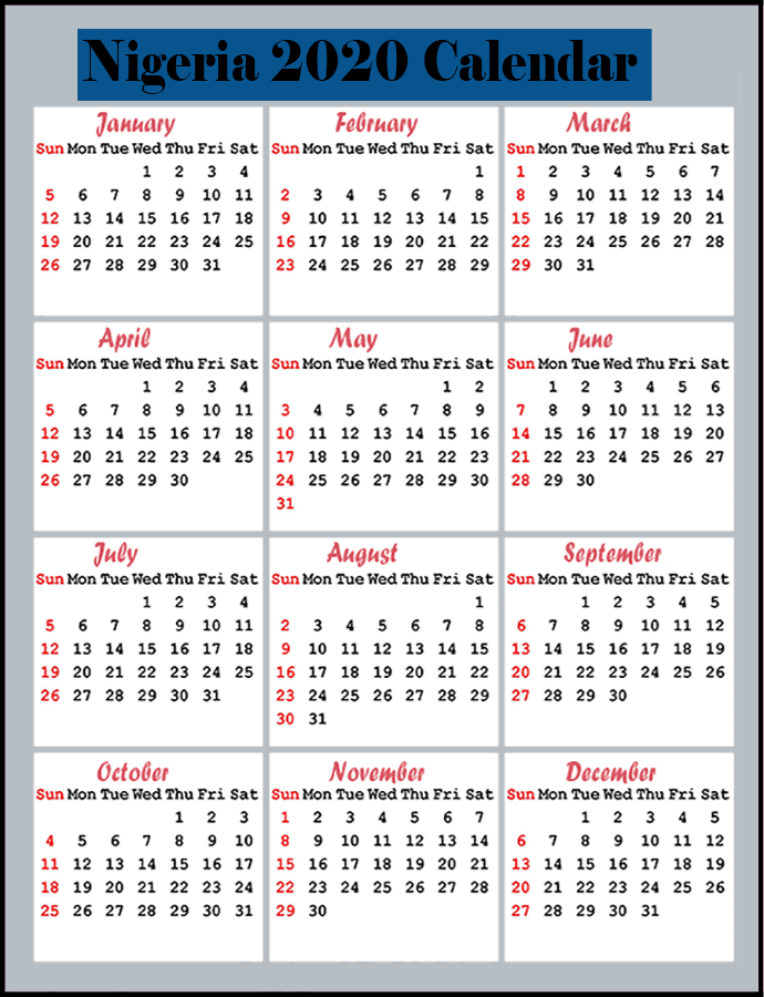 Printable Calendar 2020 with Nigeria Holidays