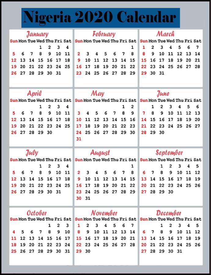 Printable Calendar 2020 with Nigeria Holidays