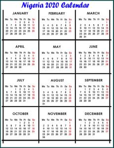 Nigeria 2020 Calendar
