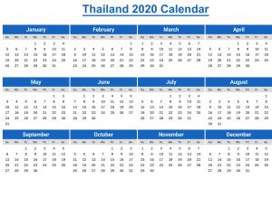 2020 Printable Thailand Calendar