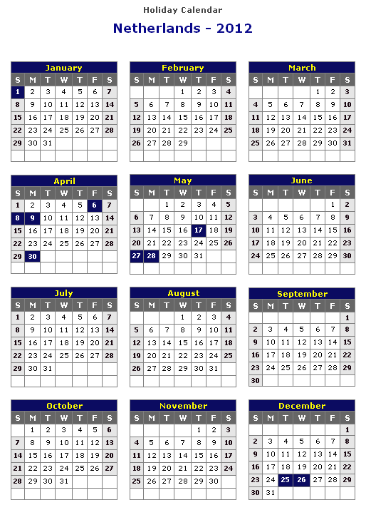 Public Holidays in the Netherlands 2020
