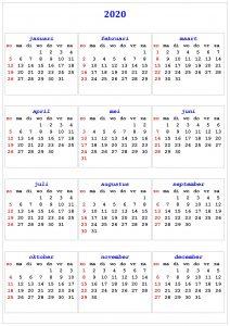 Netherlands 2020 Calendar