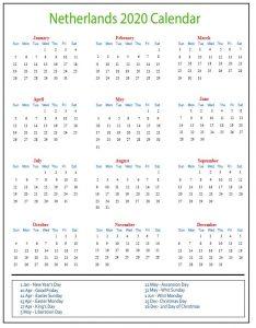 Netherlands Public Holidays 2020