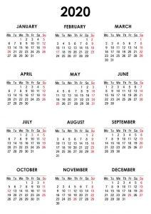 Printable England Calendar 2020