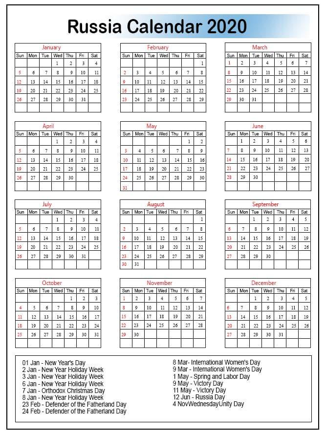 Russia 2020 Calendar