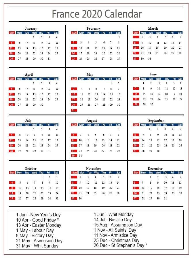 French Calendar 2020