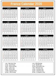 France Calendar 2020 with Holidays