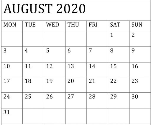 August 2020 Calendar for Students