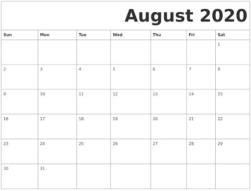 2020 August Calendar PDF