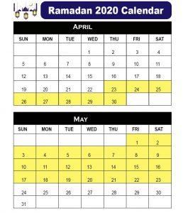 Ramadan Calendar 2020