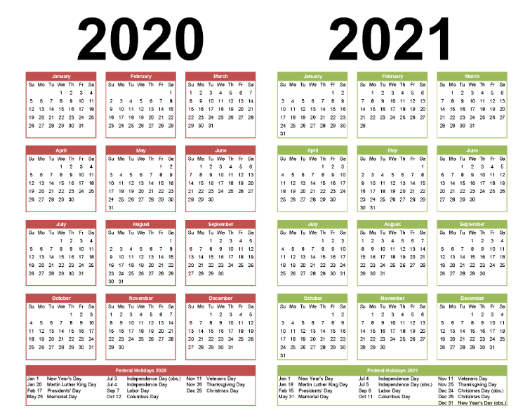 Free Printable 2020 and 2021 Yearly Calendar