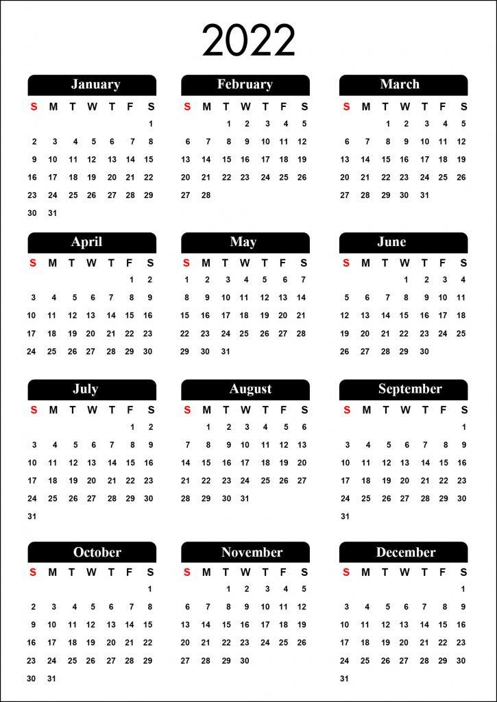 Calendar 2022 Printable